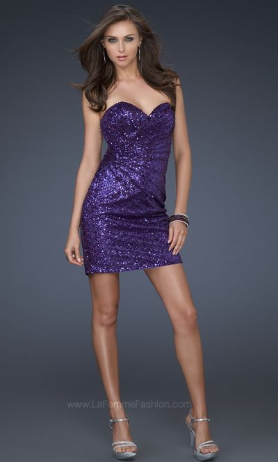 La Femme Purple Sequin Cocktail Dress with Unique Pleating 17039 ...