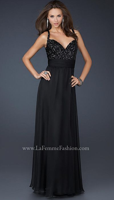 La Femme Black Floor Length Prom Dress With Stones 17071
