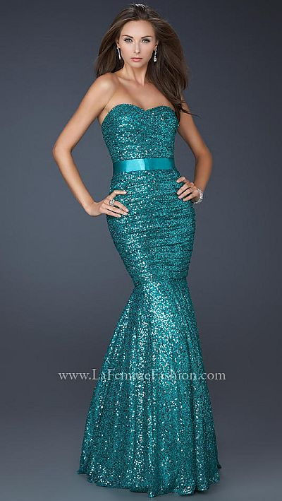 La Femme Sequin Mermaid Prom Dress 17080 - French Novelty