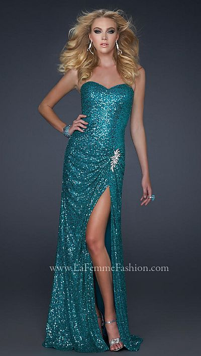 Aqua Sequin Prom Dresses