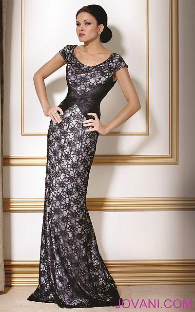 Jovani Black Silver Evening Dress 171055 French Novelty