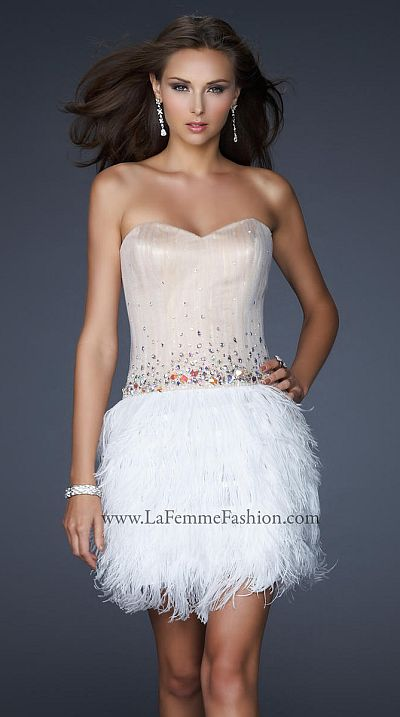 La Femme Playful Short White Dress with Feather Skirt 17106 ...