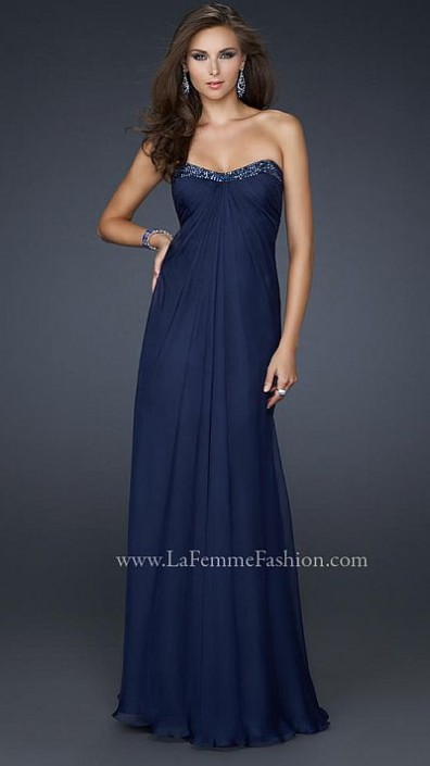 La Femme Clean Chiffon Prom Dress with Beading 17108: French Novelty