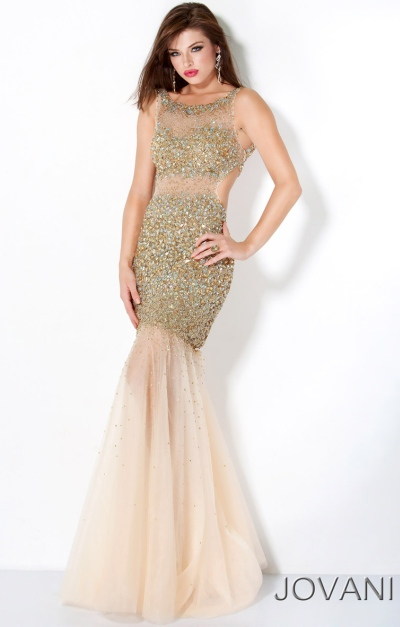 Jovani Gold Sequin Mermaid Prom Dress with Illusion 171100: French ...