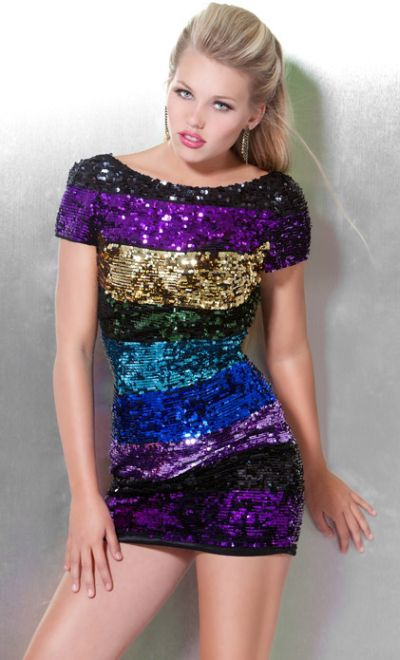 Jovani Short Sleeve Colorful Sequin Stripe Mini Dress 171471 ...