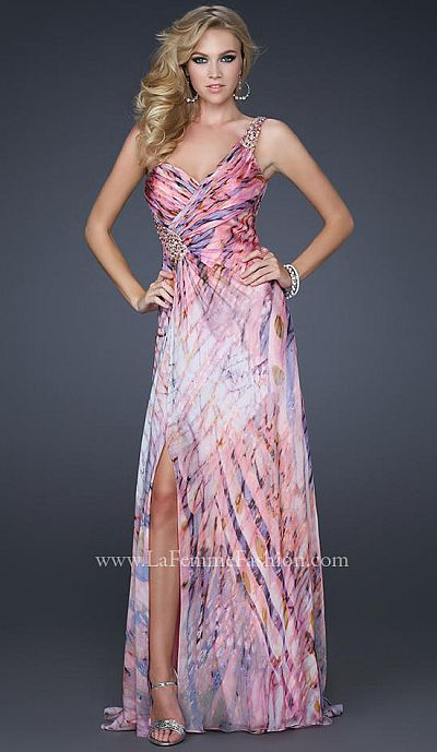 La Femme One of a Kind Chiffon Print Prom Dress 17159: French Novelty