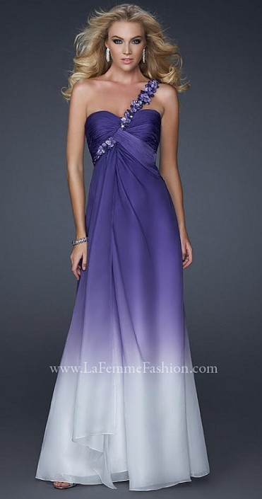 La Femme One Shoulder Purple Chiffon Prom Dress 17182: French Novelty