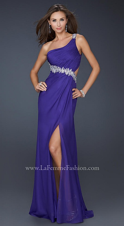 La Femme Royal Purple Prom Dress With Unique Beading 17188 French