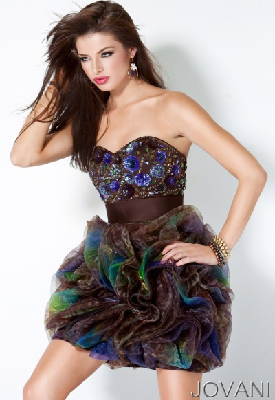 Jovani Short Brown and Green Prom Dress 171957: French Novelty
