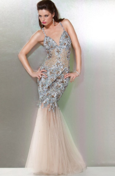 Jovani Silver Beaded Mermaid Prom Dress with Illusion 172001: French ...