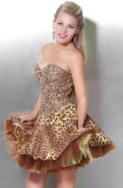 Jovani Animal Print Short Party Dress for Homecoming 172064 ...