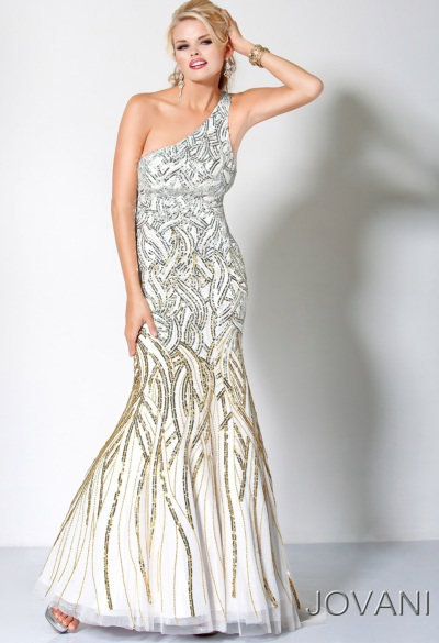 78a0202c262 Jovani White Evening Dress with Gold and Silver Beading 172094  French  Novelty