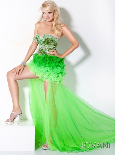 Jovani High Low Ruffle Lime Green Ombre Prom Dress 172201: French ...