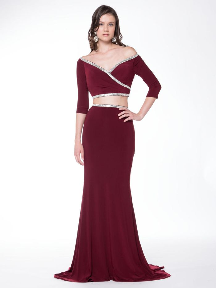 Colors 1728 Off The Shoulder 2 Piece Gown French Novelty