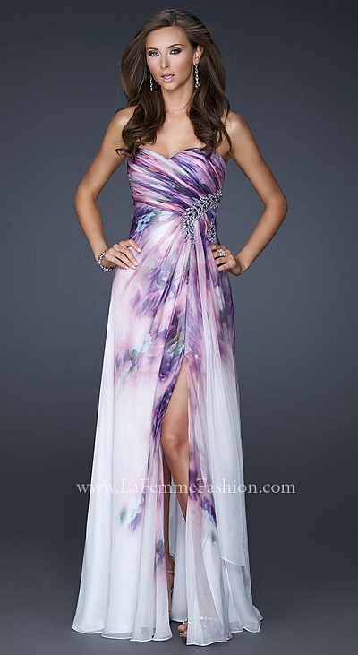 La Femme Stunning Lavender Print Prom Dress 17300 French
