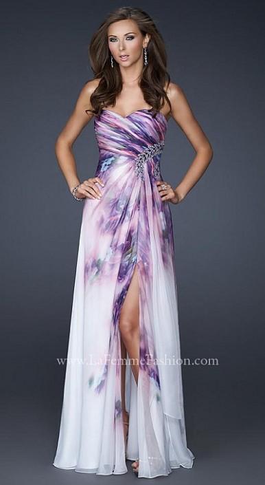 La Femme Stunning Lavender Print Prom Dress 17300 French Novelty