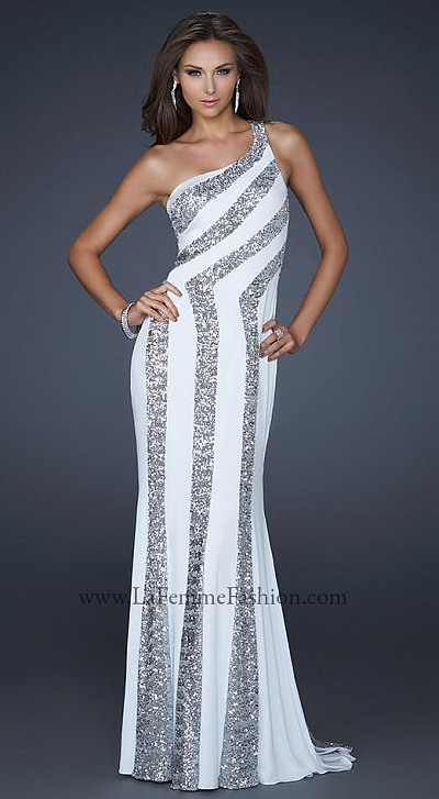 La femme white silver jersey prom dress with sequin for Silver wedding dresses 25th anniversary