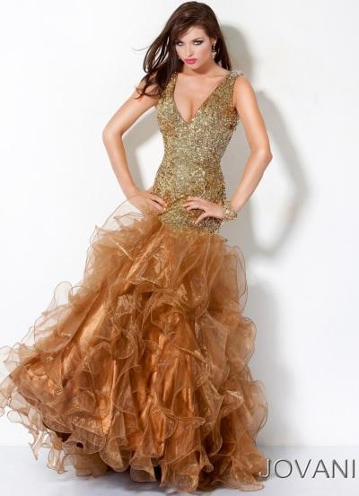 Jovani Gold Long Ruffle Prom Dress 173314: French Novelty