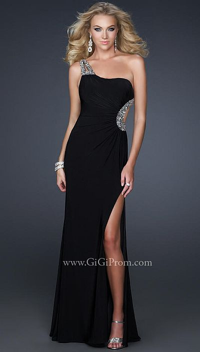 fd4e08b9991 GiGi Jersey One Shoulder Prom Dress with Side Cutout 17354: French Novelty