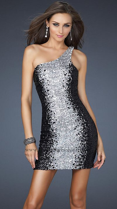 La Femme Sexy One Shoulder Short Prom Dress with Sequins 17396 ...