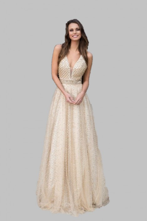 Colors Dress 1742 Metallic Glitter Homecoming Gown: French Novelty