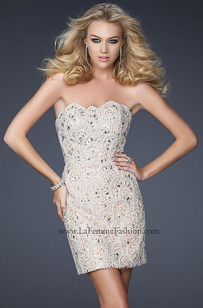 La Femme Evening Short Fully Beaded Cocktail Dress 17426: French ...