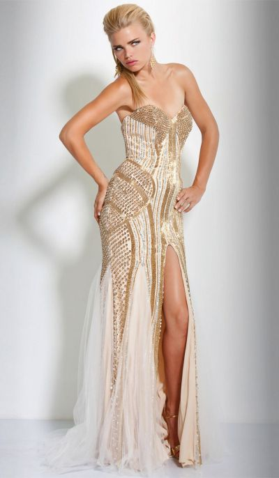 Jovani Fully Beaded Evening Gown 17430 with Sheer Godets: French Novelty