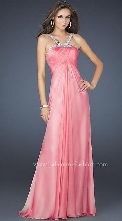 La Femme Elegant Chiffon Halter Top Prom Dress 17452: French Novelty