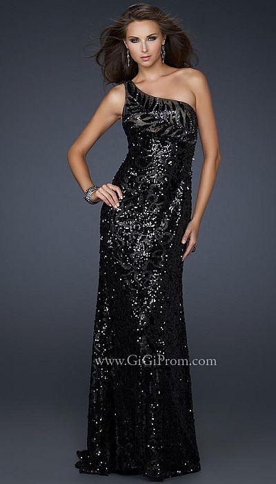 Gigi Black Sequin One Shoulder Prom Dress 17483 By La