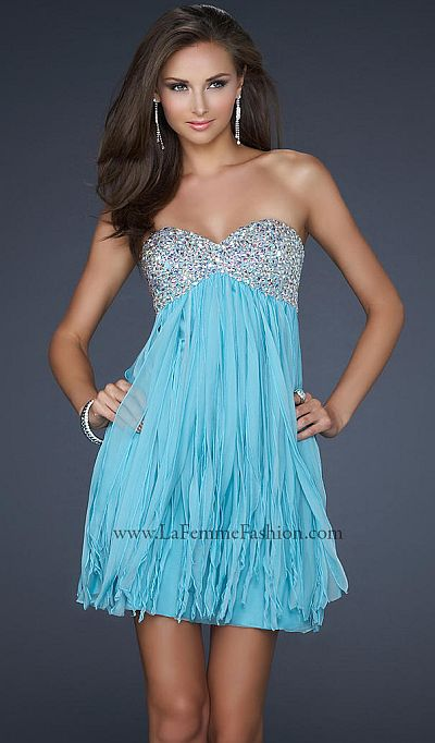 La Femme Unique Strapless Short Chiffon Prom Dress 17492: French Novelty