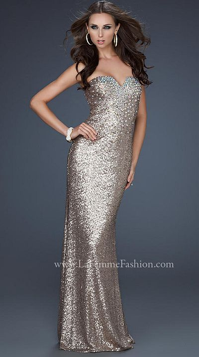 La Femme Beautiful Stretch Sequin Mermaid Prom Dress 17495: French ...