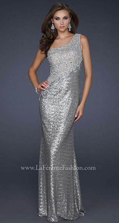 La Femme Evening Antique Silver Sequin Pageant Dress 17512
