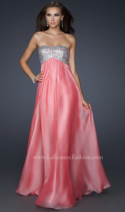 La Femme Strapless Chiffon Prom Dress with Sequin Bust 17513 ...