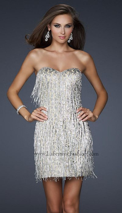 La Femme Silver Flapper Sequin Short Prom Dress 17529: French Novelty