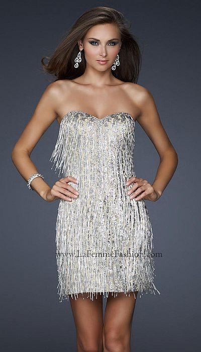 La Femme Silver Flapper Sequin Short Prom Dress 17529