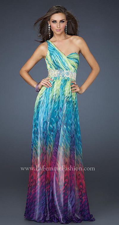 La Femme Goddess Inspired One Shoulder Colorful Prom Dress 17691 ...