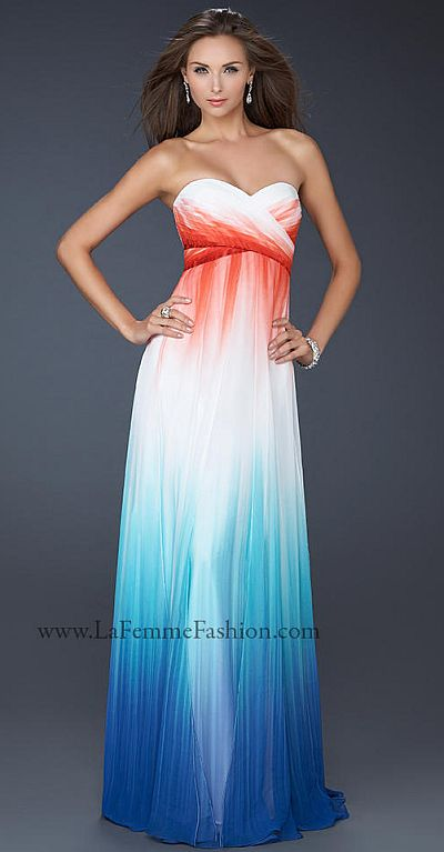 La Femme Strapless Sweetheart Ombre Chiffon Prom Dress 17738 ...