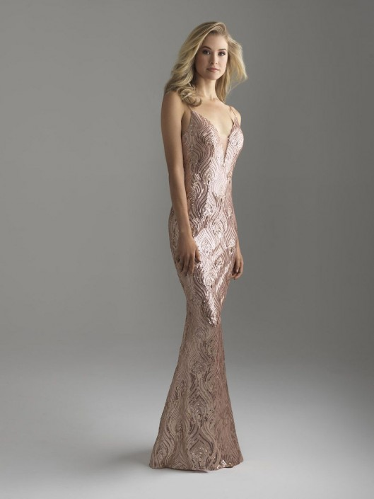 Size 4 Rose Gold Madison James 18-624 Sequin Evening Gown: French ...