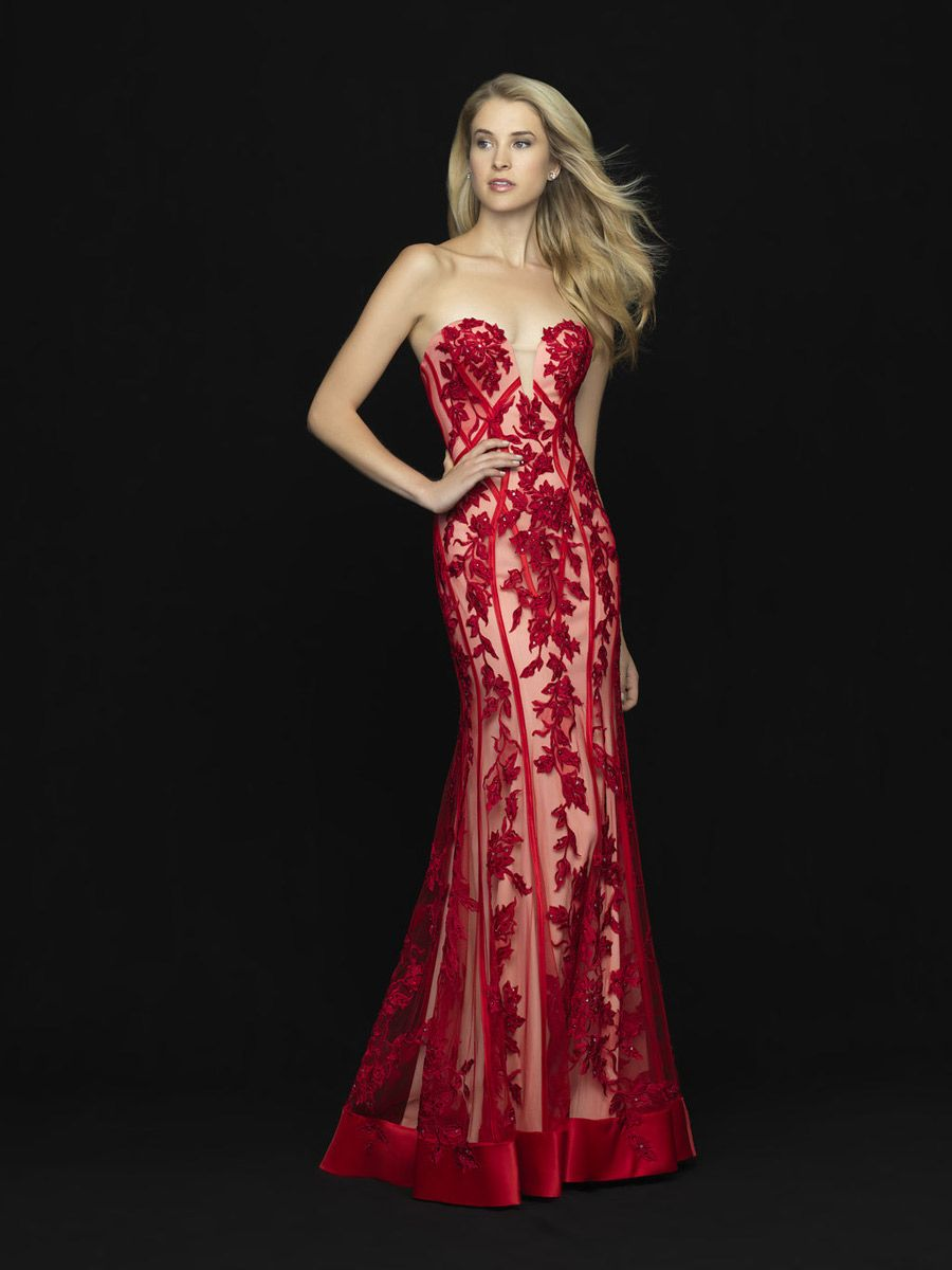 Madison James 18 674 Floral Lace Sheer Prom Dress French