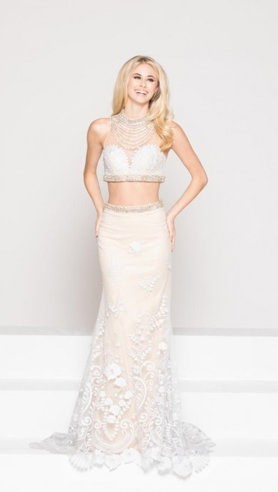 Size 0 White-Nude Colors Dress 1800 Sheer Lace 2 Piece Prom Gown ...