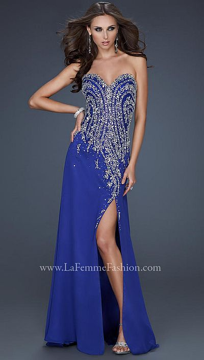 La Femme Evening Alluring Royal Blue Beaded Pageant Dress 18008