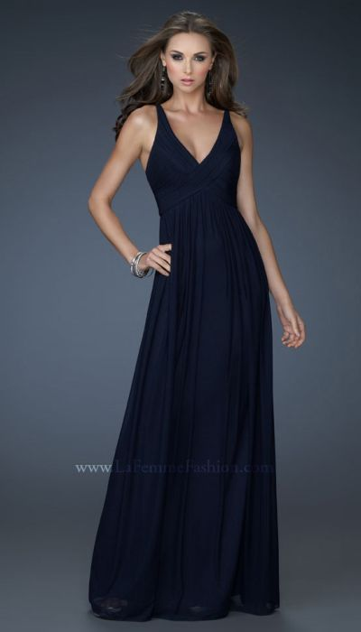 La Femme 18039 Navy Deep V Neck Long Homecoming Dress