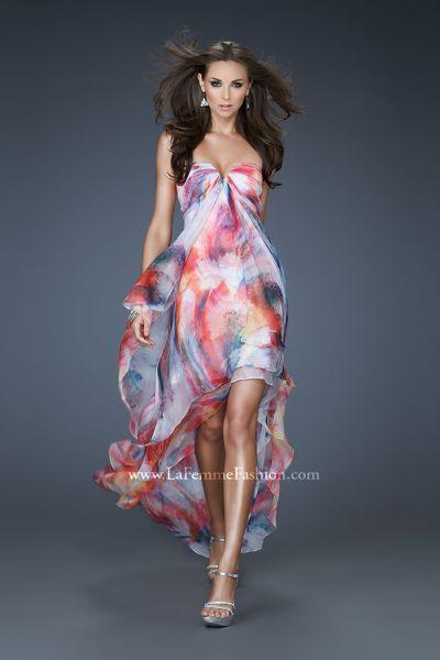 La Femme 18081 High Low Flowy Chiffon Print Dress French