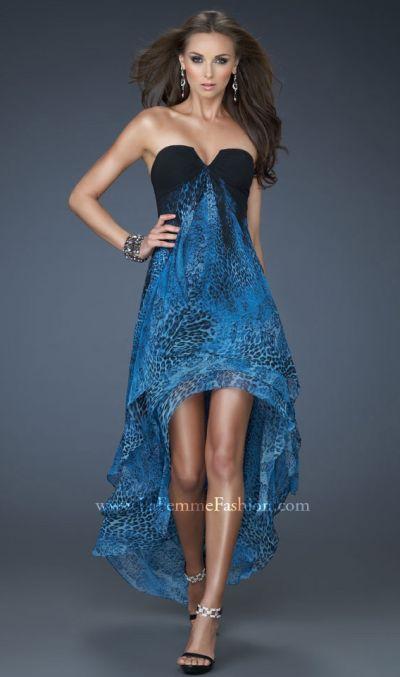 La Femme 18087 Animal Print High Low Homecoming Dress