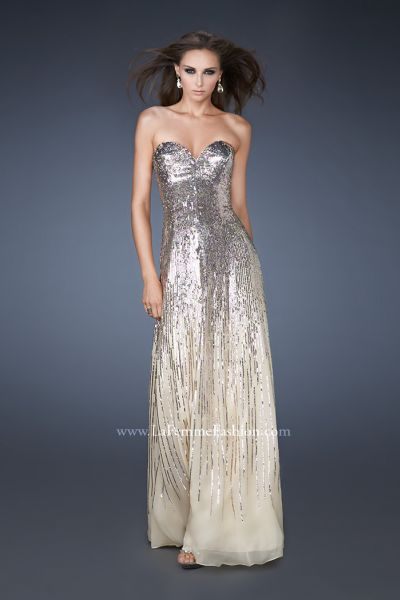 La Femme 18590 Celebrity Inspired Cascading Sequin Gown: French Novelty