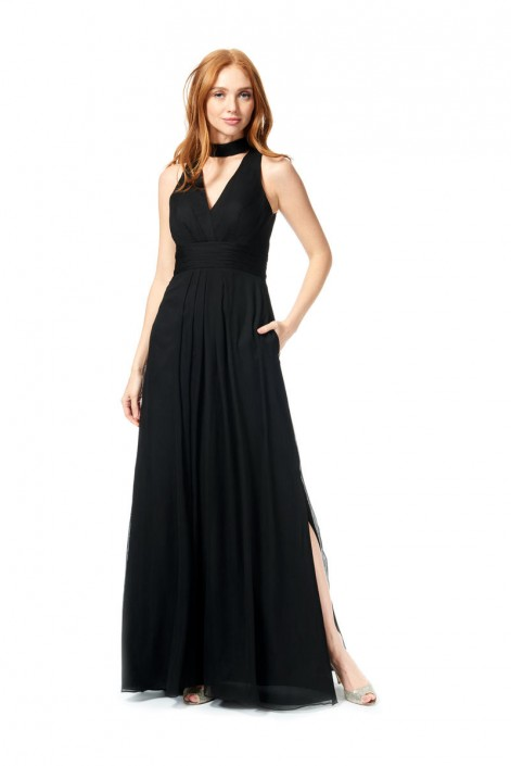 Bari Jay 1879 V Neck Bridesmaid Dress with Choker  French Novelty f67978e3e10d