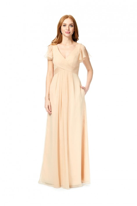 01264357a7 Bari Jay 1880 Flutter Sleeve Chiffon Bridesmaid Gown  French Novelty