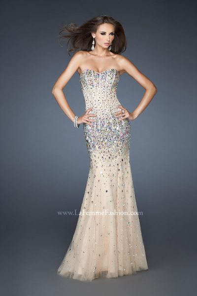 La Femme Evening 18873 Beaded Corset Gown: French Novelty