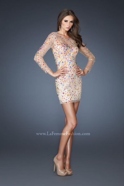 La Femme Evening 19005 Beaded Fitted Cocktail Dress: French Novelty