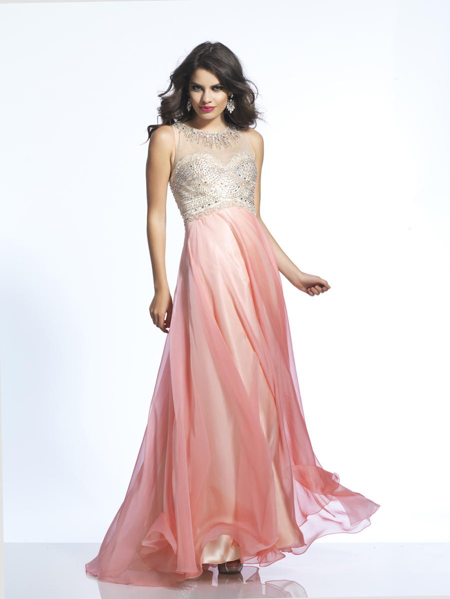 Dave and Johnny 1901 Flowy Chiffon Evening Gown: French Novelty
